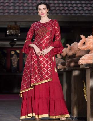Maroon colored festive wear long kurti