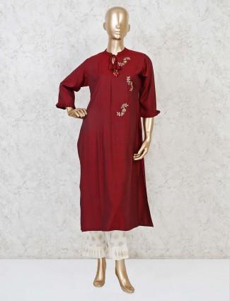 Maroon cotton cutdana, sequins work kurti set