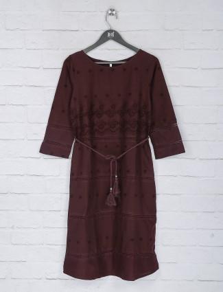 Maroon cotton hakoba pattern long top