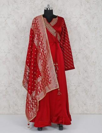 Maroon cotton silk anarkali salwar suit
