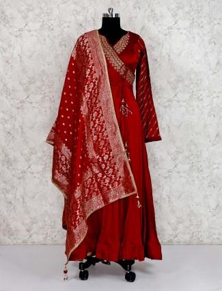 Maroon cotton silk angrakha anarkali salwar suit