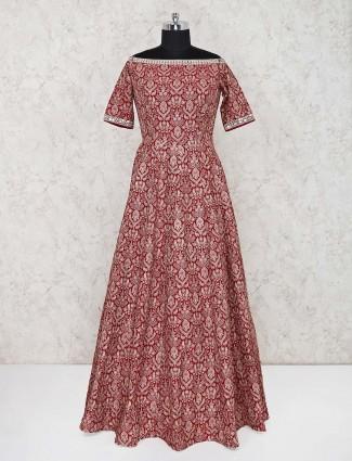 Maroon cotton silk designer gown