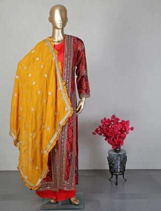 Maroon cotton silk palazzo suit