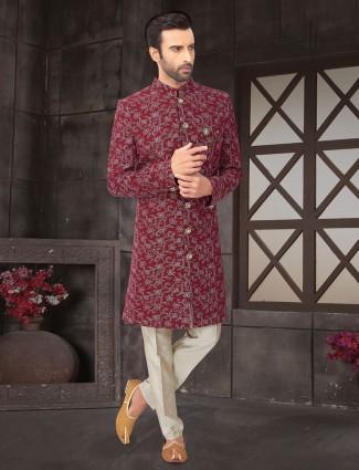 Maroon cotton silk wedding wear indo western