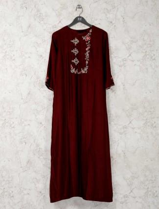 Maroon designer cotton silk kurti