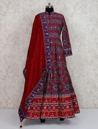 Maroon floor length anarkali suit in cotton silk
