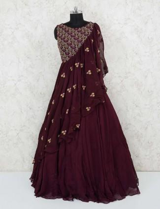 Maroon georgette designer gown