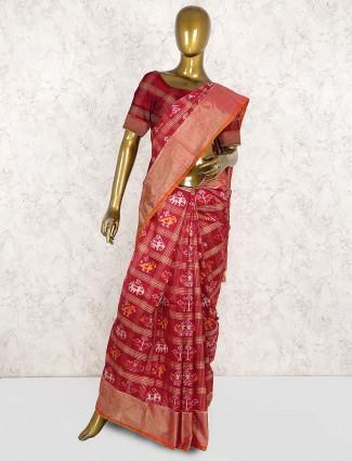 Maroon hue beautiful patola silk saree