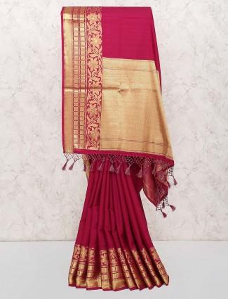Maroon hue beautiful wedding saree