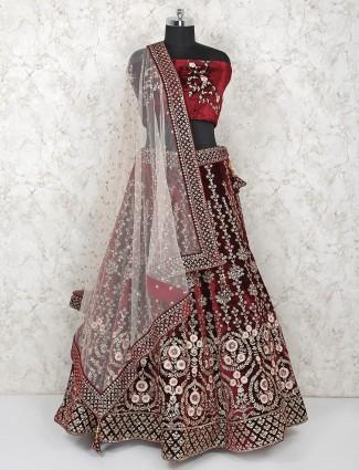 Maroon hue bridal velvet semi stitched lehenga choli