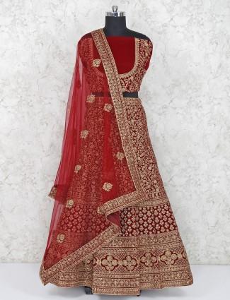 Maroon hue bridal wear velvet semi stitched lehenga choli