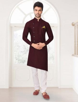 Maroon hue cotton fabric party kurta suit