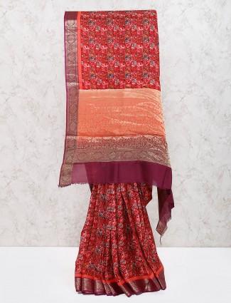 Maroon hue festive georgette saree