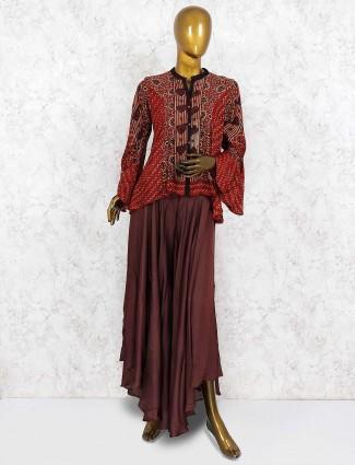Maroon hue festive indo western palazzo suit