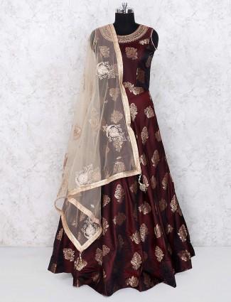 Maroon hue floor length anarkali salwar suit in cotton silk