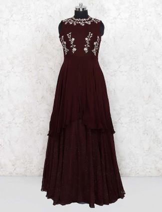 Maroon hue georgette lovely gown