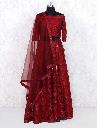 Maroon hue gorgeous net fabric lehenga choli