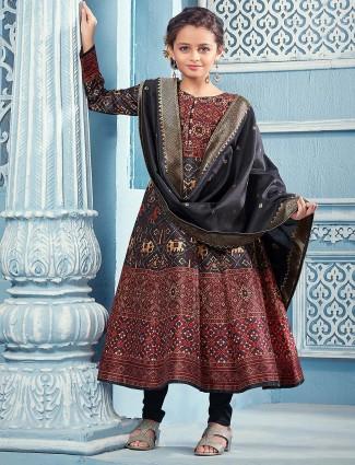 Maroon hue long salwar suit in cotton fabric
