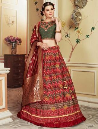 Maroon hue lovely lehenga choli in cotton silk