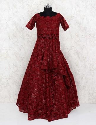 Maroon hue net floor length designer gown