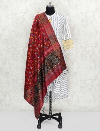 Maroon hue pretty pashmina silk dupatta