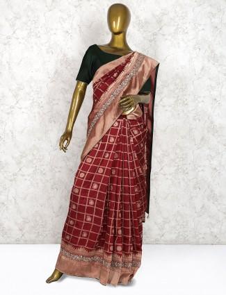 Maroon hue pretty pure silk saree in checks pattern