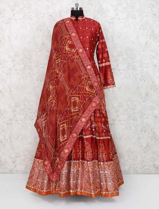 Maroon hue printed cotton fabric floor length anarkali salwar suit