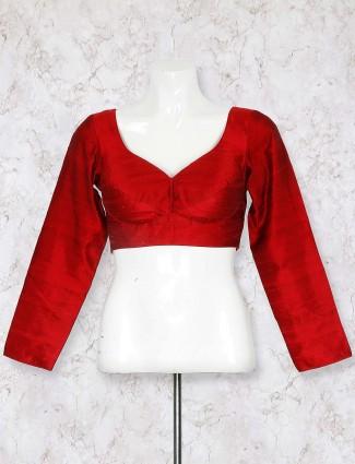 Maroon hue raw silk blouse