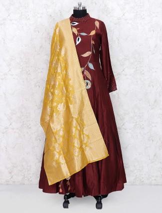 Maroon hue raw silk fabric floor length anarkali salwar suit