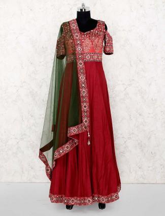 Maroon hue raw silk fabric printed anarkali salwar suit
