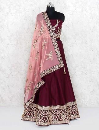 Maroon hue silk fabric festive semi stitched lehenga choli