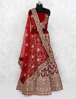 Maroon hue velvet bridal semi stitched lehenga choli