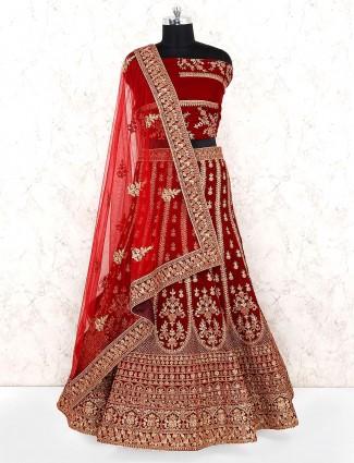 Maroon hue velvet bridal wear semi stitched lehenga choli