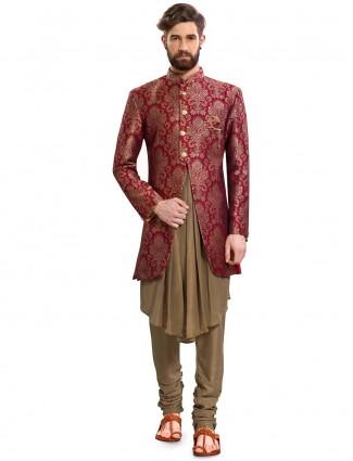 Maroon hued designer semi indo western