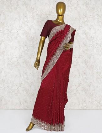 Maroon hued saree in silk fabric
