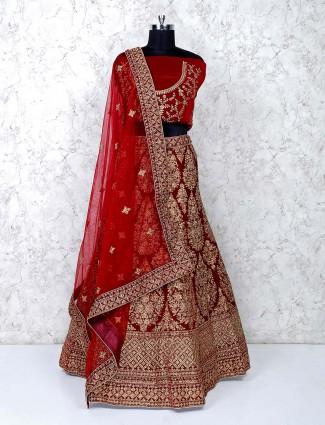 Maroon hued velvet bridal semi stitched lehenga choli