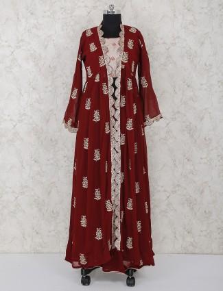 Maroon jecket style georgette fabric lehenga suit