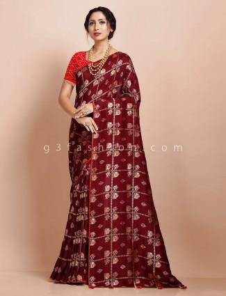 Maroon muga silk traditional wear sari
