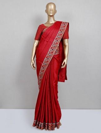 Maroon party wear saree in handloom cotton