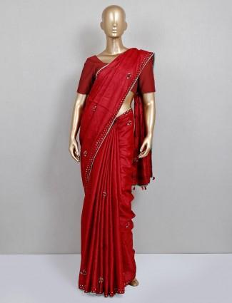Maroon party wear thread work saree