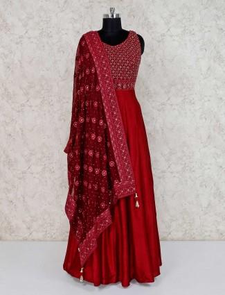 Maroon raw silk latest wedding wear anarkali suit