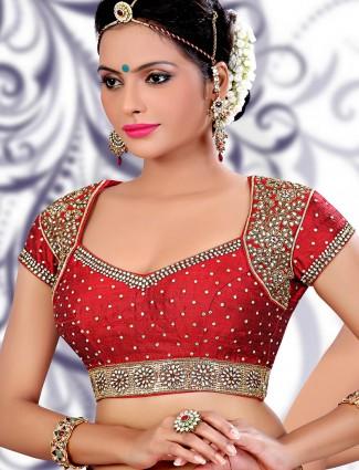 Maroon raw silk  readymade saree blouse