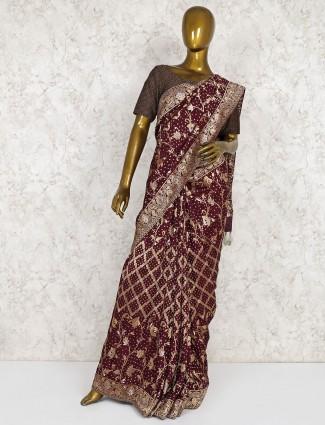Maroon saree in semi silk