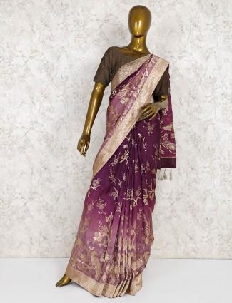 Maroon semi silk lovely saree