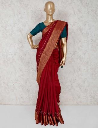 Maroon semi silk wedding wear saree