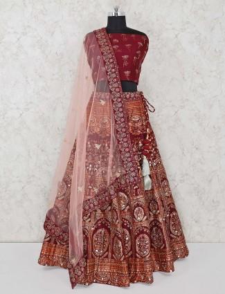 Maroon semi stitched lehenga choli in silk