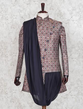 Maroon silk fabric stand collar indo western