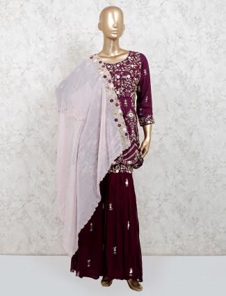 Maroon silk punjabi sharara suit for wedding