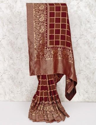 Maroon silk saree in checks pattern