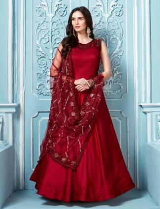 Maroon sleeveless pattern anarkali salwar suit in cotton silk